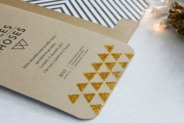 carte d'invitation paillettes triangle