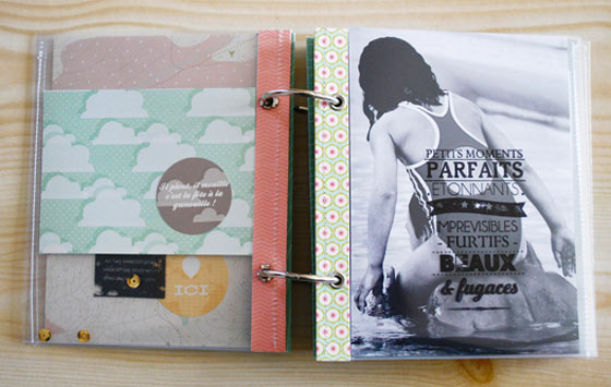 Tuto mini album tampons bois - pages interieures