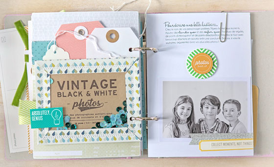 interieur mini-album : shake box et tags