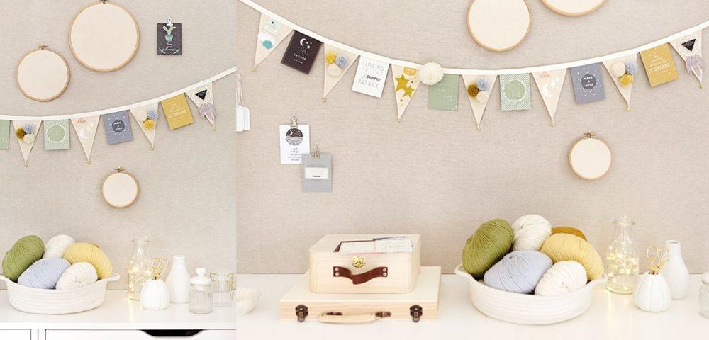 Décorer son chez soi avec la customisation d'une guirlande de fanions Kesi'Art