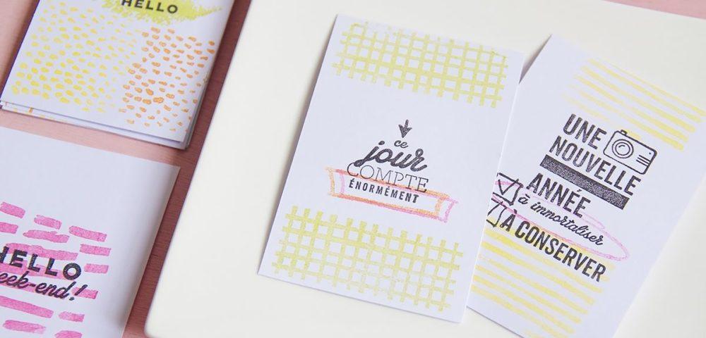 Tutoriel pour réaliser une carte de voeux tamponnée avec les produits Kesi'Art
